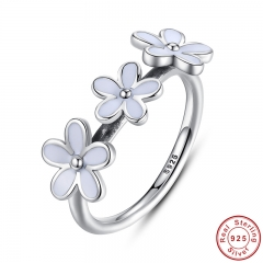 100% 925 Sterling Silver Darling Three Daisy Flowers Ring for Women Wedding White Enamel Original Fine Jewelry PA7148