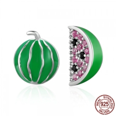 Trendy New 925 Sterling Silver Exquisite Watermelon Fruits Stud Earrings for Women Sterling Silver Jewelry Bijoux SCE105 EARR-0188