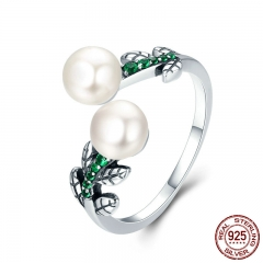 Hot Sale 100% 925 Sterling Silver Glittering Tree of Life Tree Leaves Female Ring Engagement Jewelry Adjustable SCR250