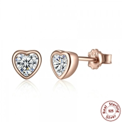 925 Sterling Silver One Love Stud Earrings with Clear CZ Female Brincos for Woman Fine Jewelry PAS452