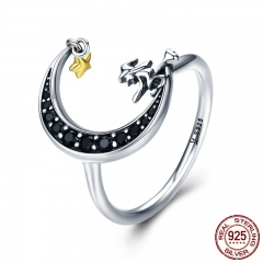 100% 925 Sterling Silver Magic Witch in Moon Star Black CZ Dangle Finger Ring for Women Sterling Silver Jewelry SCR288
