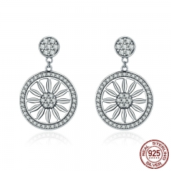 Authentic 925 Sterling Silver Bohemia Ethnic Daisy Drop Earrings for Women Vintage Earrings Jewelry Gift Brincos SCE231