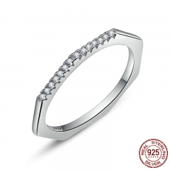 New Arrival 925 Sterling Silver Geometric with Clear Zircon Ring for Women Engagement Ring Wedding Jewelry SCR045