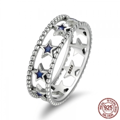Fashion 100% 925 Sterling Silver Stackable Ring Sparking Star Finger Rings for Women Authentic Silver Jewelry SCR153