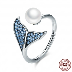 Authentic 925 Sterling Silver Adjustable Dolphin Tail Blue CZ Finger Rings for Women Sterling Silver Jewelry Gift SCR286