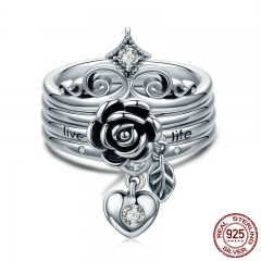 New Arrival 100% 925 Sterling Silver Punk Style Heart Crown, Rose Flower Finger Rings for Women Sterling Silver Jewelry