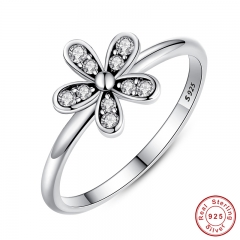 Two Colors Fashion Elegant Original 925 Sterling Silver Dazzling Daisy Flower Ring Clear CZ Wedding Jewelry PA7123