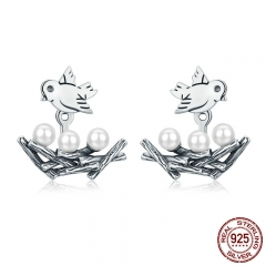 100% 925 Sterling Silver Spring Collection Bird Swallow with Nest Stud Earrings for Women Fine Jewelry S925 Gift SCE337 EARR-0341