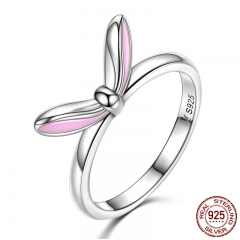 Authentic 925 Sterling Silver Sweet Pink Enamel Rabbit Ears Finger Rings For Women Fashion Sterling Silver Jewelry SCR058