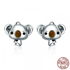 Genuine 100% 925 Sterling Silver Animal Cute Koala Bear Stud Earrings for Women Sterling Silver Jewelry Gift SCE381