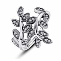 925 Sterling Silver Sparkling LEAVES SILVER RING WITH CUBIC ZIRCONIA for Women Original Jewelry PA7114