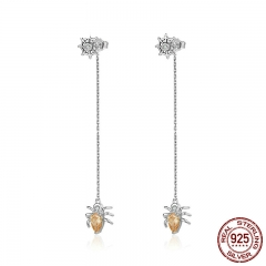 Fashion New Genuine 925 Sterling Silver Sparkling CZ Spider Long Drop Earrings for Women Sterling Silver Jewelry SCE170 EARR-0177