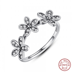 Authentic 100% 925 Sterling Silver Dazzling Daisy Stackable Finger Ring Clear CZ Flower Jewelry Christmas Gift PA7126