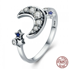 925 Sterling Silver Crescent Moon & Star Dazzling CZ Open Finger Ring for Women Wedding Engagement Jewelry Gift SCR116