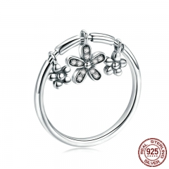 Authentic 925 Sterling Silver Daisy Flower Dangle Finger Rings for Women Fashion Sterling Silver Ring Jewelry SCR395 RING-0427