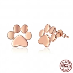 100% 925 Sterling Silver Animal Dog Cat Footprints Gold Color Stud Earrings for Women Fashion Silver Jewelry SCE407-3 EARR-0417