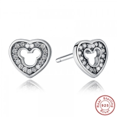 New Collection 925 Sterling Silver Heart Shape Stud Earrings with CZ for Women Weddings Fashion Jewelry PAS415