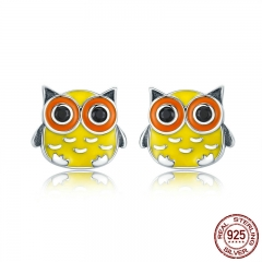 Animal Collection 100% 925 Sterling Silver Cute Owl Animal Stud Earrings for Women Sterling Silver Jewelry Brincos SCE229 EARR-0248