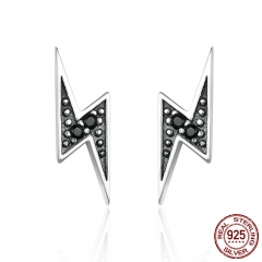 New Arrival 100% 925 Sterling Silver Exquisite Lightning & Black CZ Stud Earrings for Women Fine Jewelry Brincos SCE156