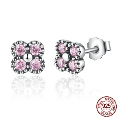 Lovely Gift 100% 925 Sterling Silver Small Stud Earrings with Pink Stone Zircon For Women Fashion Jewelry PAS482