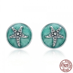 100% 925 Sterling Silver Fantasy Starfish Round Small Stud Earrings for Women Clear CZ Fashion Earrings Jewelry SCE205 EARR-0235