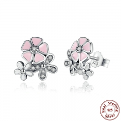 HOT SELL 925 Sterling Silver Poetic Daisy Cherry Blossom Drop Earrings Pink Flower Women Wedding PAS461