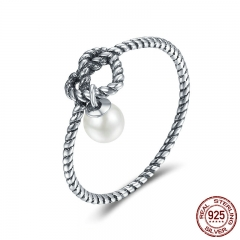 Genuine 925 Sterling Silver Twisted Heart with Simulated Pearl Finger Rings for Women Authentic Silver Jewelry SCR163