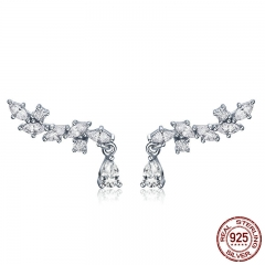 Genuine 100% 925 Sterling Silver Elegant Crystal CZ Geometric Stud Earrings for Women Sterling Silver Jewelry SCE385
