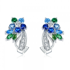 Fashion Silver Color Stud Earrings Gorgeous for Women with AAA Cubic Zircon Fashion Jewelry JIE113 EARR-0390