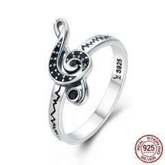 Authentic 100% 925 Sterling Silver Dancing Melody Black Women Ring Female Anniversary Engagement Jewelry SCR200