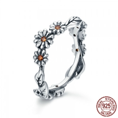 Hot Sale 100% 925 Sterling Silver Twisted Daisy Flower Female Finger Rings for Women Wedding Silver Jewelry Anel SCR298