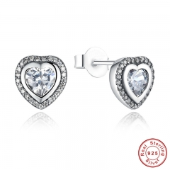 925 Sterling Silver Love Heart Shape Stud Earrings for Women Clear Cubic Zirconia Fashion Anniversary Jewelry PAS405
