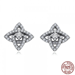 Genuine 100% 925 Sterling Silver Sparkling Crystal CZ Geometric Stud Earrings for Women Sterling Silver Jewelry SCE384