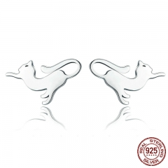 Genuine 100% 925 Sterling Silver Cute Cat Pussy Tail Small Stud Earrings for Women Sterling Silver Jewelry SCE366