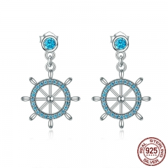 Real 100% 925 Sterling Silver Sailing Dream Blue CZ Anchor Drop Earrings for Women Fashion Silver Jewelry S925 SCE310 EARR-0324