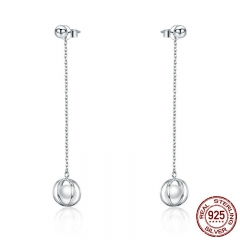 Authentic 925 Sterling Silver Luminous Round Cage Long Chain Drop Earrings for Women Sterling Silver Jewelry SCE289