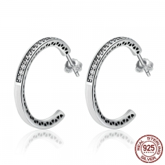 925 Sterling Silver Radiant Hearts White Enamel & Clear CZ Hoop Earrings for Women Sterling Silver Jewelry Bijoux SCE211 EARR-0192