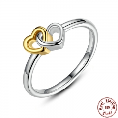 Summer Collection 925 Sterling Silver Heart to Heart Ring Double Heart Fine Jewelry for Women PA7173