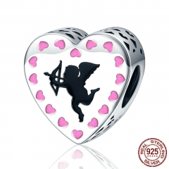 Romantic New 925 Sterling Silver Cupid's Love Cupid Arrow Pink Heart Beads fit Charm Bracelet Jewelry Lover Gift SCC143