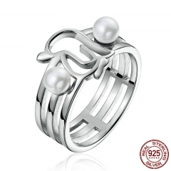Genuine 925 Sterling Silver Openwork Penguins & Simulated Pearl Finger Ring for Women Anniversary Jewelry Gift SCR152