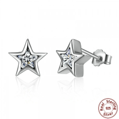 Starshine, Clear CZ 925 Sterling Silver Star Push-back Women Stud-Earrings Jewelry Brincos Pendientes Mujer PAS436