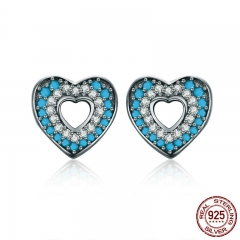 Fashion New 100% 925 Sterling Silver Blue Crystal Heart Female Stud Earrings for Women Authentic Silver Jewelry SCE129