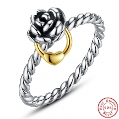 Genuine 925 Sterling Silver Finger Ring with Gold Color Heart Charm for Women Wedding Sterling Silver Jewelry PA7113