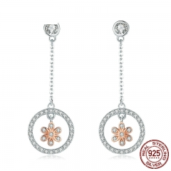 High Quality 925 Sterling Silver Flower in Round Circle Long Chain Drop Earrings for Women Sterling Silver Jewelry SCE422 EARR-0420