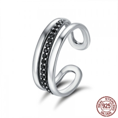 High Quality Genuine 925 Sterling Silver Urban Style Black CZ Female Wedding Band Ring Party Anniversary Jewelry SCR242