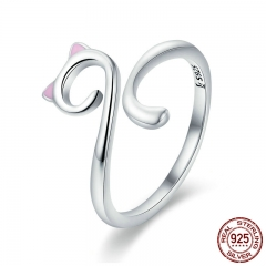 Hot Sale Authentic 925 Sterling Silver Naughty Cat Nail Pussy Open Size Finger Ring for Women Party Ring Jewelry SCR341 RING-0390