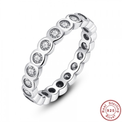 925 Sterling Silver Alluring Brilliant Stackable Finger Ring with Clear CZ Original Fine Jewelry PA7131