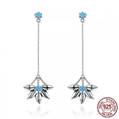 100% 925 Sterling Silver Daisy Flower Long Tassel Drop Earrings for Women Fashion Vintage Earrings Jewelry Brincos SCE279 EARR-0283
