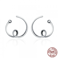 Genuine 925 Sterling Silver Simple Abstractionism Twisted Line Stud Earrings for Women Vintage Jewelry Bijoux Gift SCE111