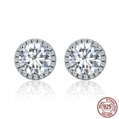 Authentic 100% 925 Sterling Silver Dazzling Clear CZ Small Stud Earrings for Women Wedding Engagement Jewelry SCE358